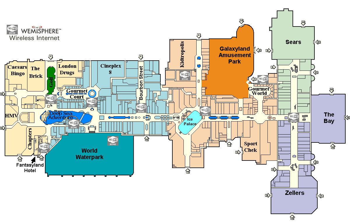 West Edmonton Mall Map Mall Xplorer